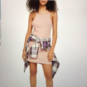 TopShop Scooped Back Blush Cotton Midi Dress NWT